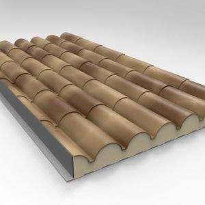 Panel Sandwich Teja Albero Envejecido con 6 tejas y nucleo de poliuretano