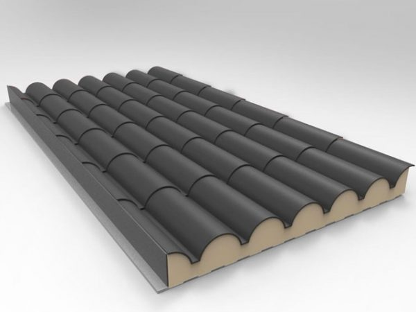 panel sandwich teja gris pizarra ral 7022 con nucleo aislante de poliuretano expandido de alta densidad