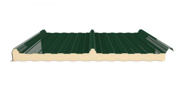 panel sandwich 3 grecas color verde para cubiertas de naves industriales