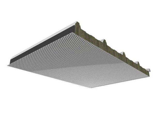 panel lana de roca cubierta acústica microperforada