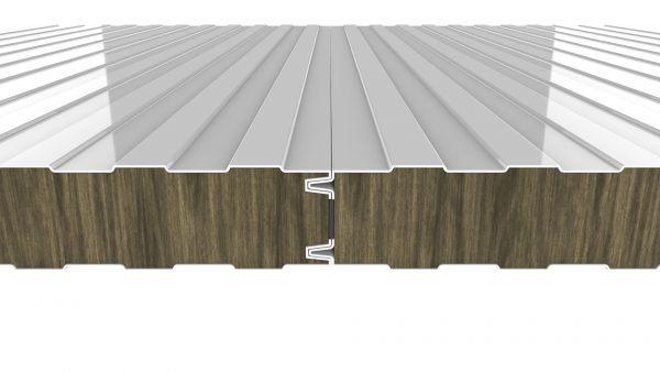 Panel fachada ignífuga con núcleo de lana de roca. Panel Sandwich con resistencia al fuego
