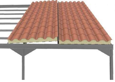 Montaje de las chapas de panel teja