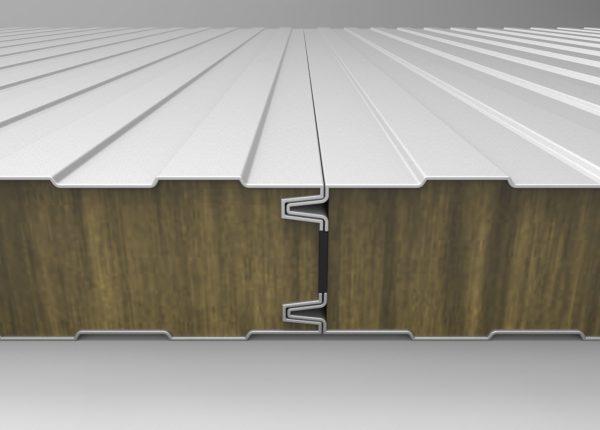Panel Fachada Ignifuga. Muestra del machihembrado panel de lana de roca resistente al fuego para fachadas