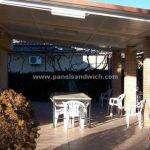 cubierta de panel sandwich teja para porches con acabado interior en blanco