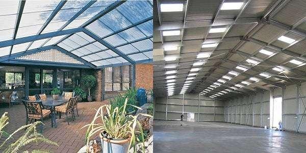 usos del policarbonato en terraza y nave industrial