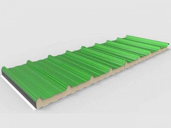 panel sandwich 5 grecas para naves industriales en color verde