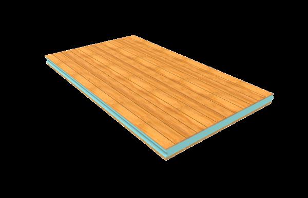 panel de madera con friso de abeto y aglomerado hidrofugo