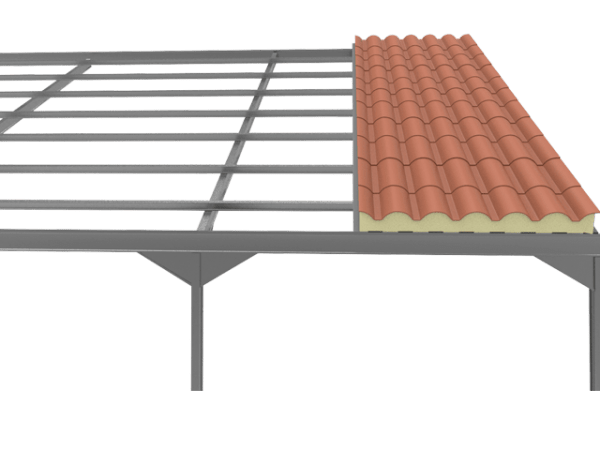 instalacion del panel sandwich teja rojo ral 8004