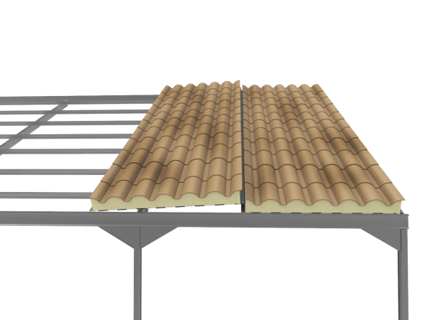 montaje del panel sandwich teja albero envejecido con solape sobre estructura metalica entre placas