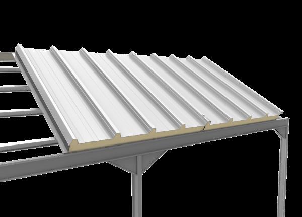 panel sandwich 5 grecas sobre estructura metalica