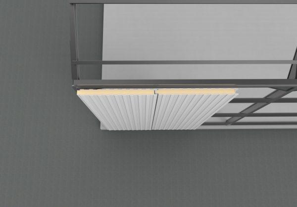 panel sandwich fachada tornilleria vista montada en estructura metálica