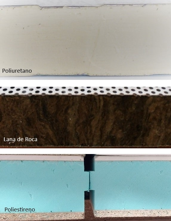 Diferentes espumas aislantes de los paneles sandwich