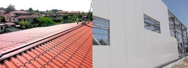 Panel sandwich teja y fachada para la cubierta y la pared de una casa